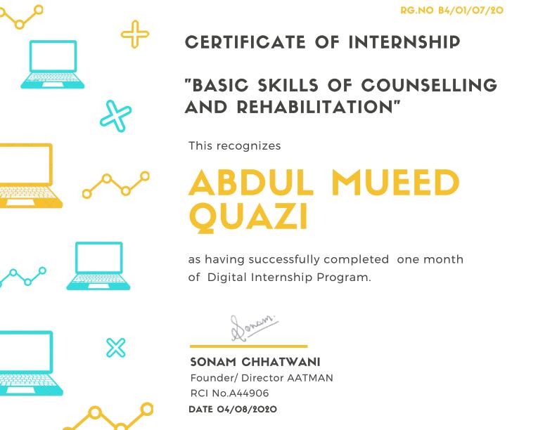 Psychology internship certificate