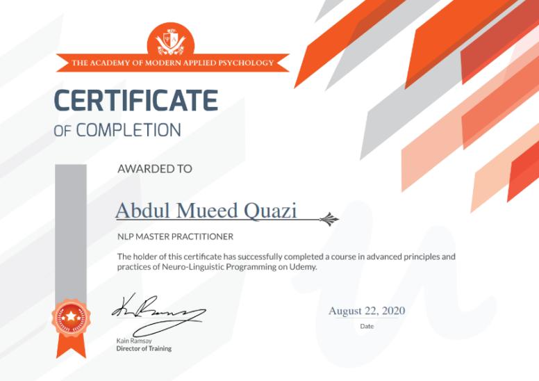 NLP Master Practitioner Certificate
