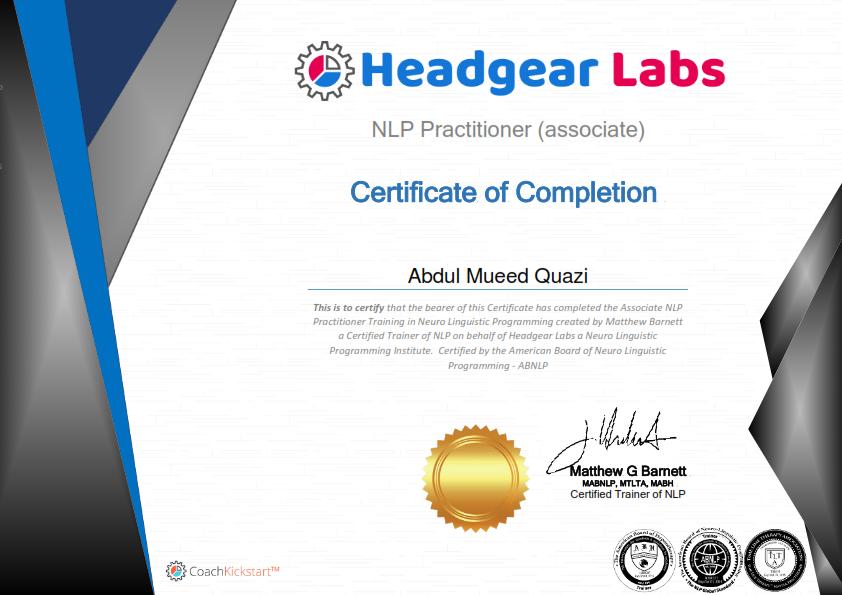 Certificate NLP Associate Practitioner 001